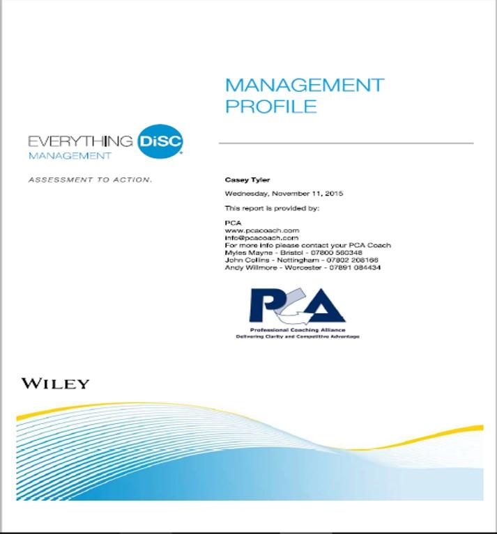 management profile cover pca
